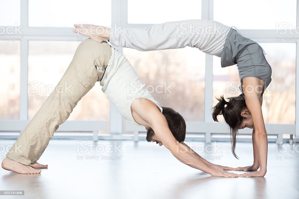 Acroyoga, stretching workout stock photo