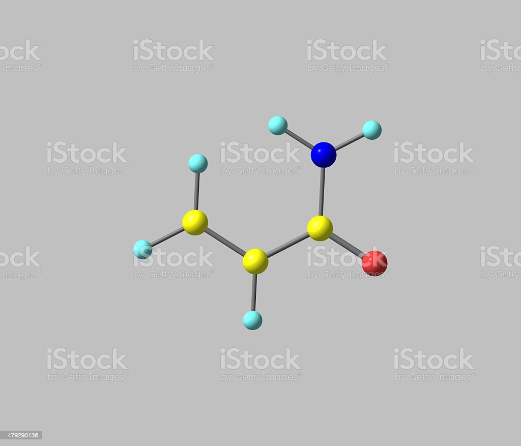 Acrylamide molecule isolated on grey stock photo