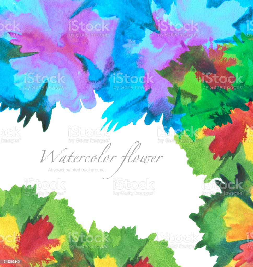 Acrylic and watercolor flower painted background. stock photo