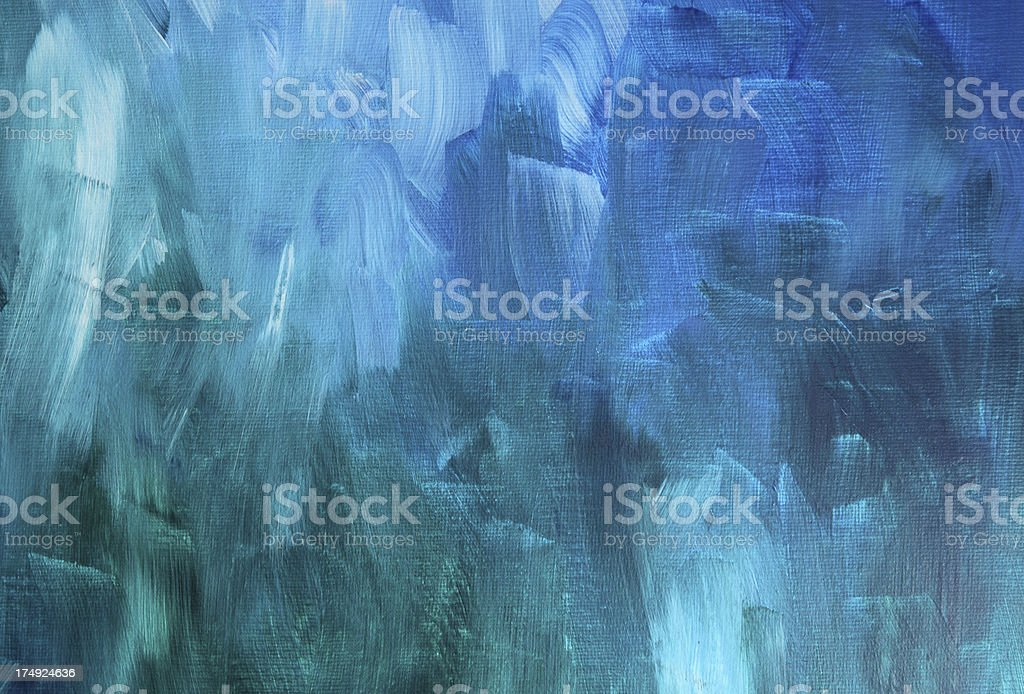 Acrylic canvas painted with blues and greens stock photo