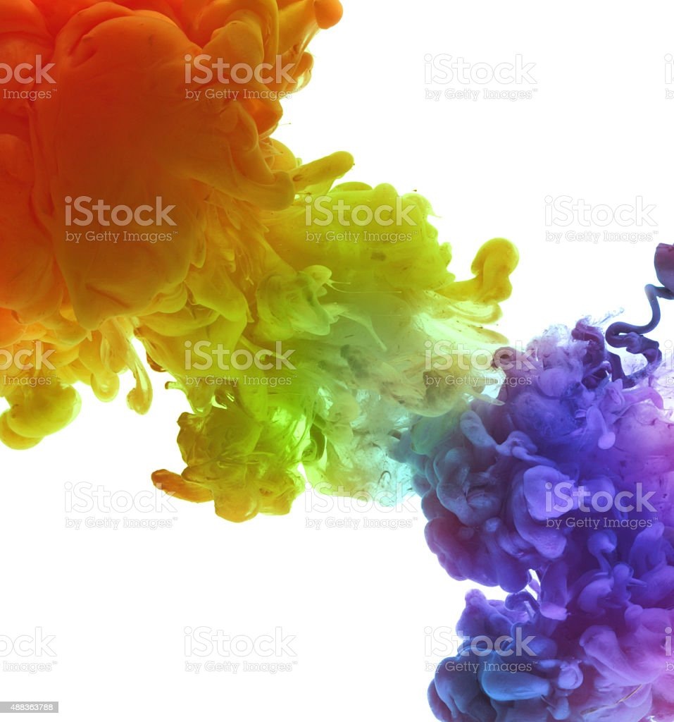 Acrylic colors in water. Abstract background. stock photo