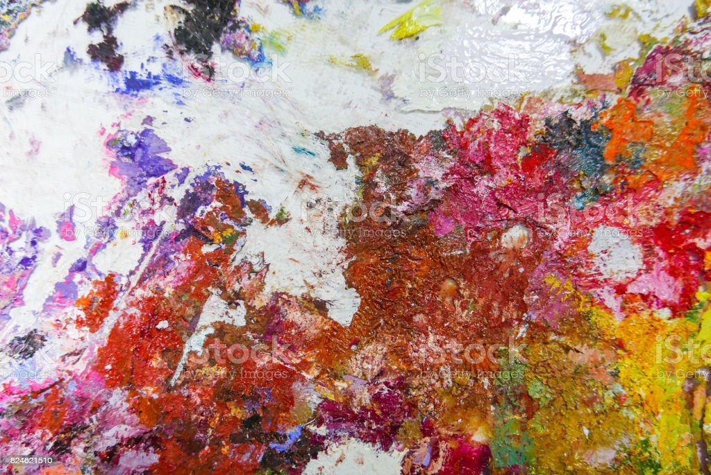 Acrylic Oil paint Color texture. Spots of oil paint. Modern art. Abstract art Painting background. stock photo