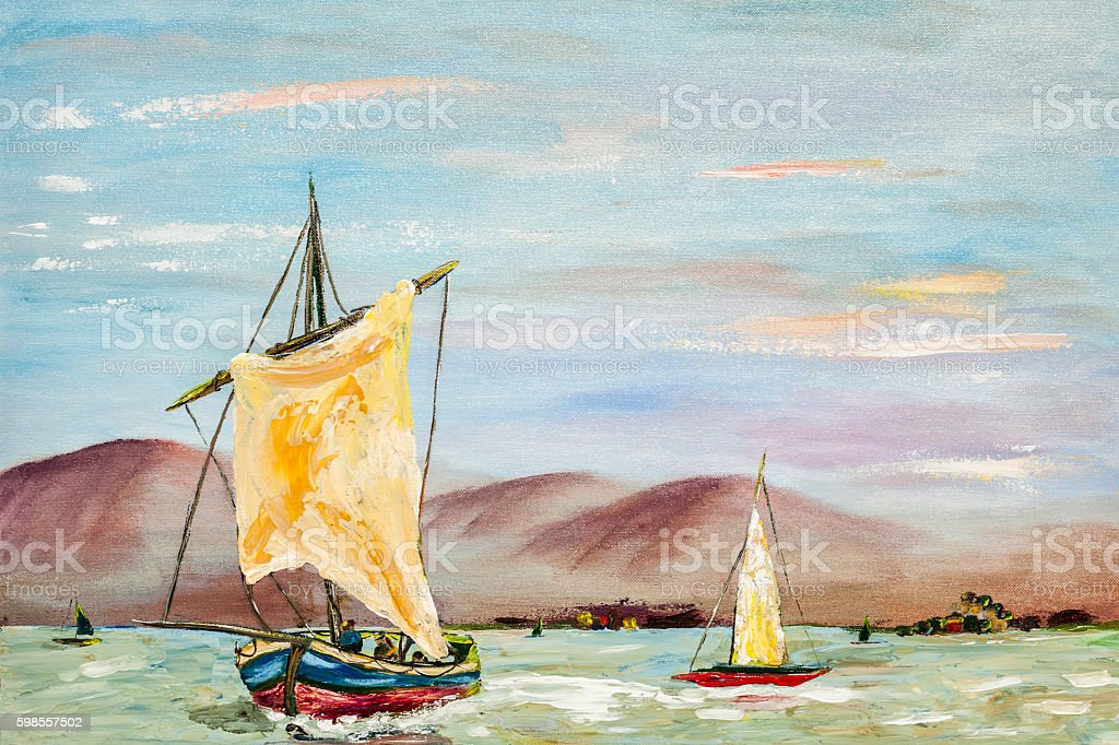 Acrylic oil painting of sailboats on ocean. stock photo
