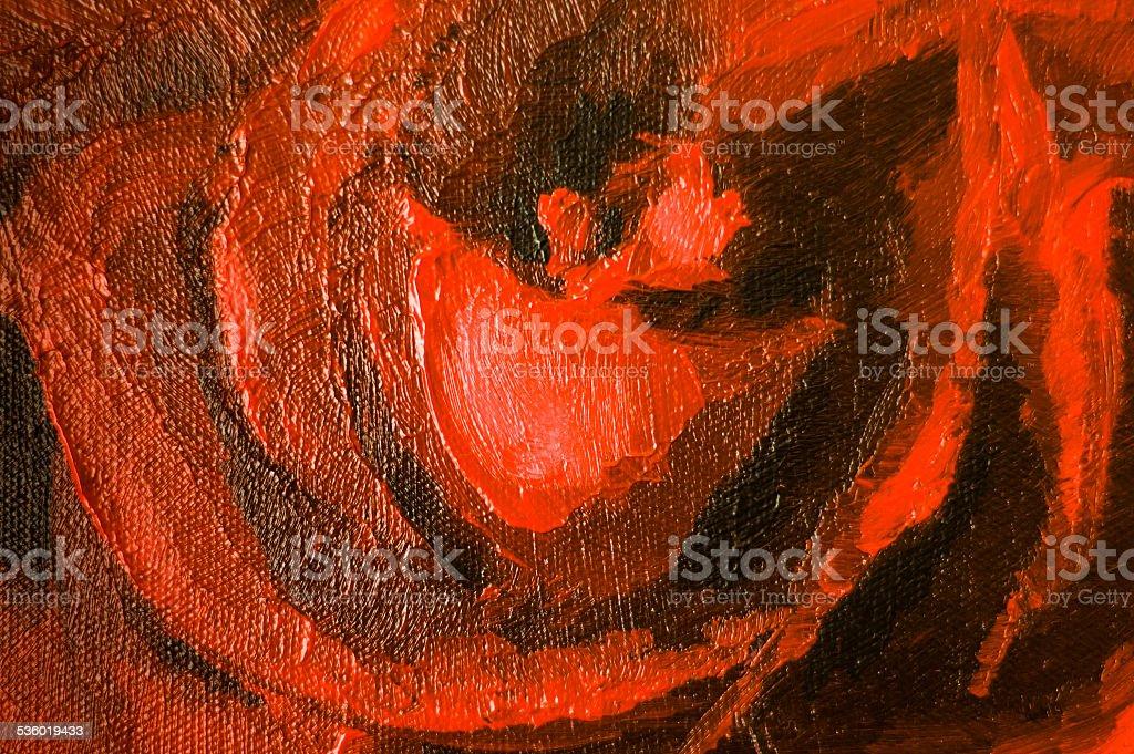 Acrylic painting, red-black background stock photo