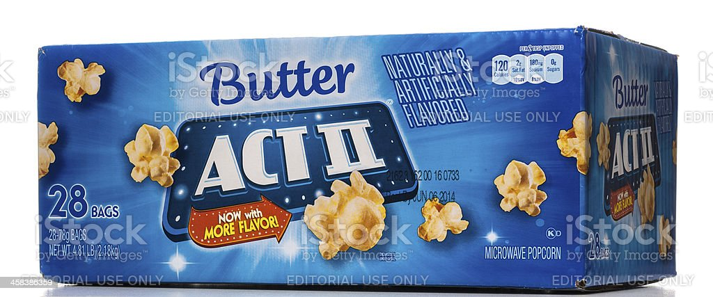 Act II butter microwave popcorn box stock photo