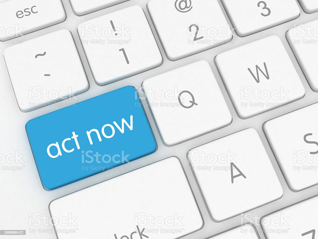 Act now button keyboard stock photo