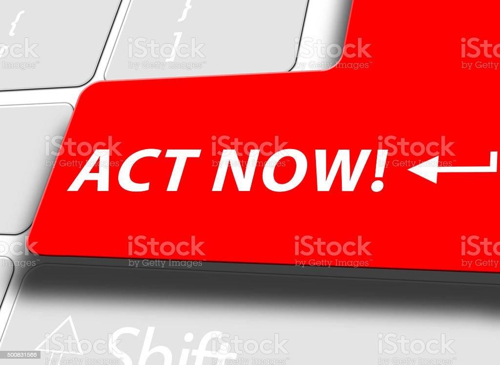 Act now key stock photo