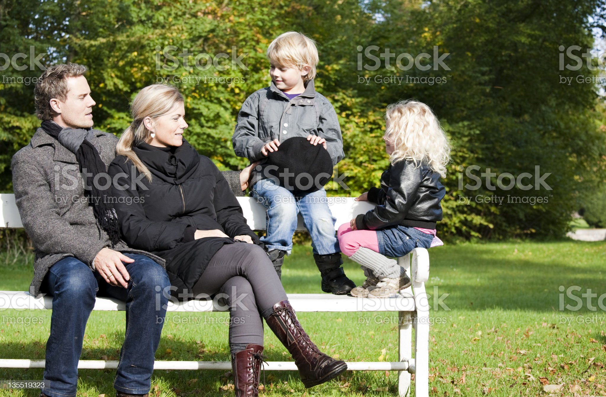 Actice family outdoor royalty-free stock photo