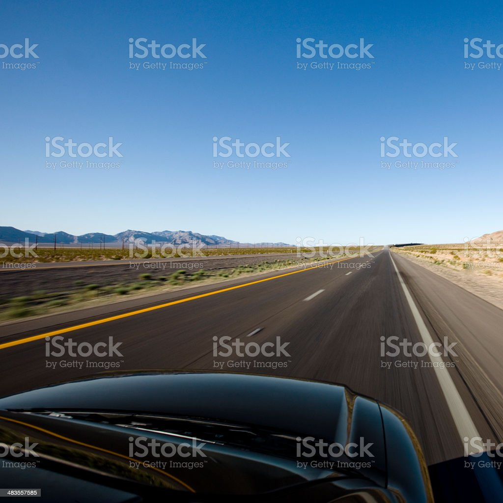 Action and Speed on Empty Highway stock photo