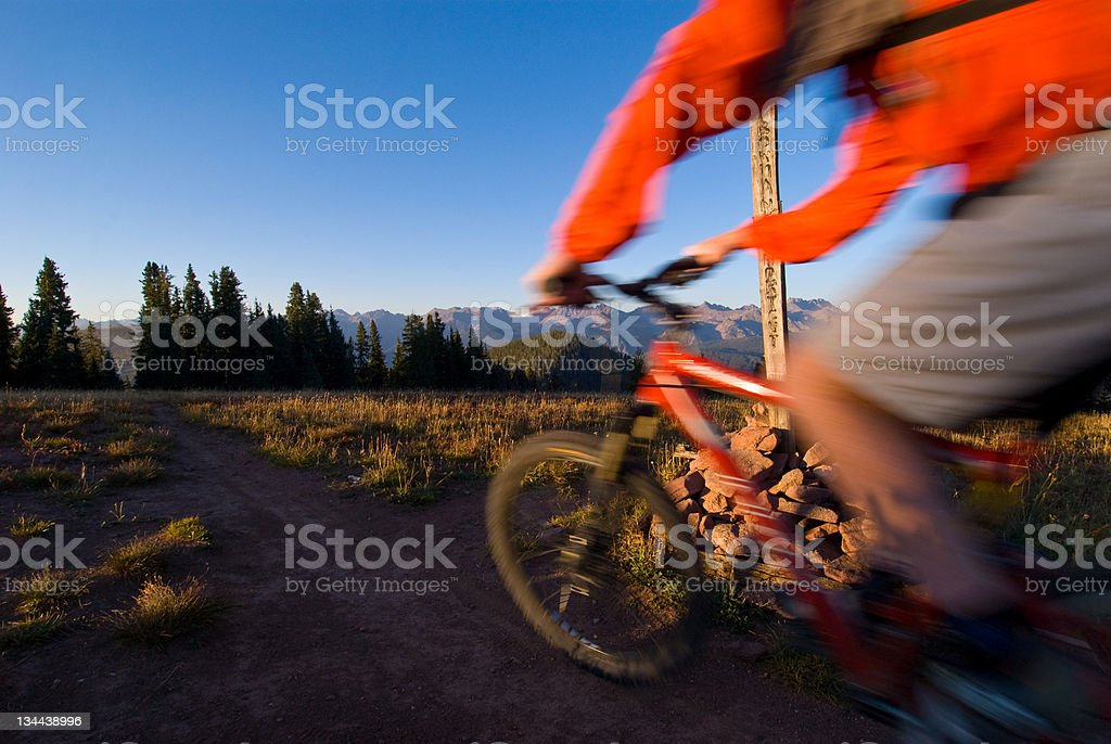 Action Blur of Mountain Biking Singletrack in the Mountains royalty-free stock photo