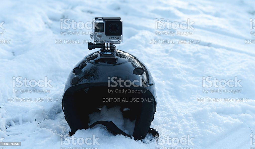 Action camera in the snow stock photo