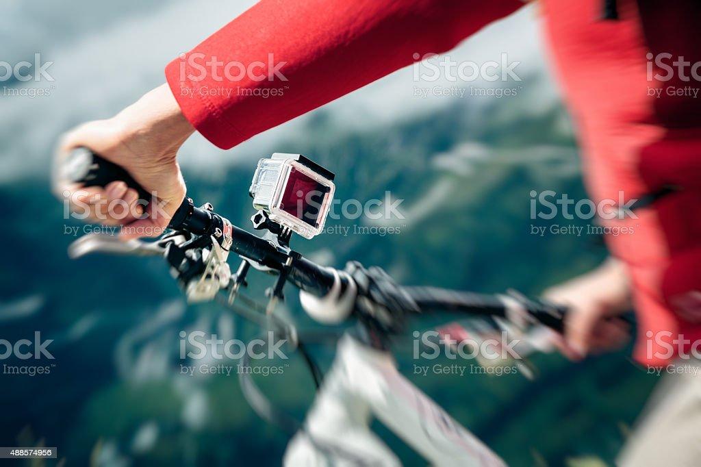 Action Camera Mounted on Mountain Bike stock photo