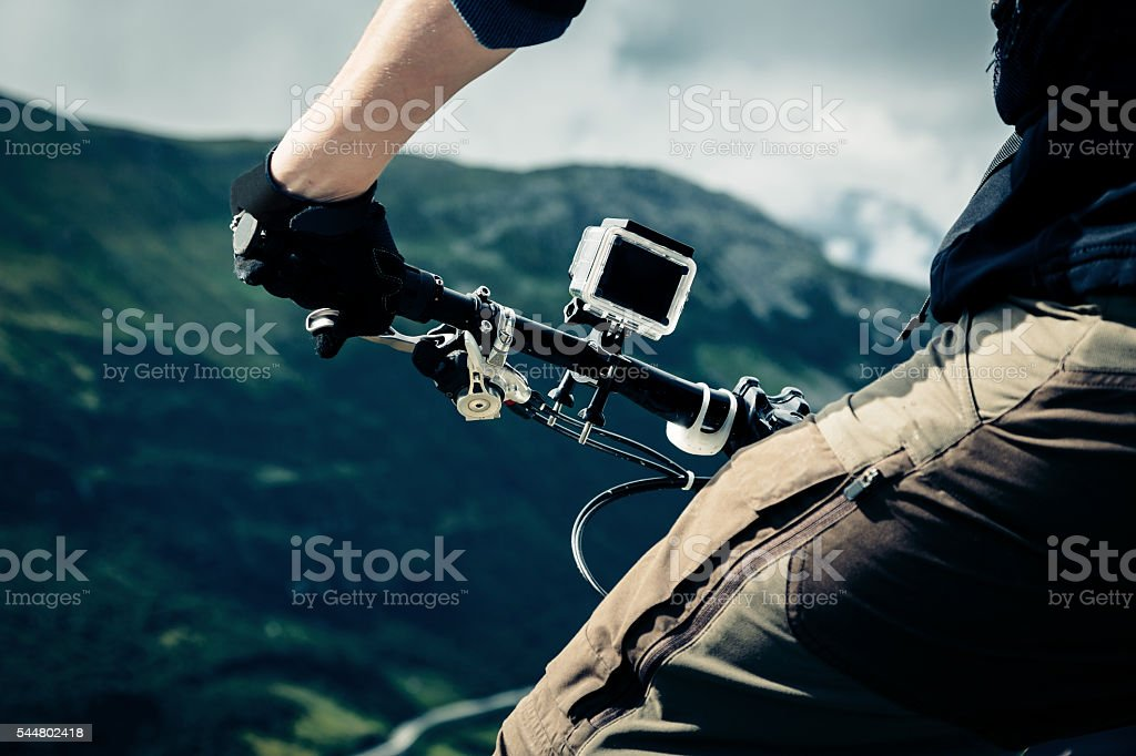 Action Camera Mounted on Mountain Bike stock photo