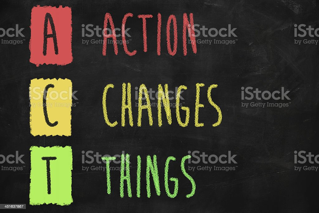 Action changes things stock photo