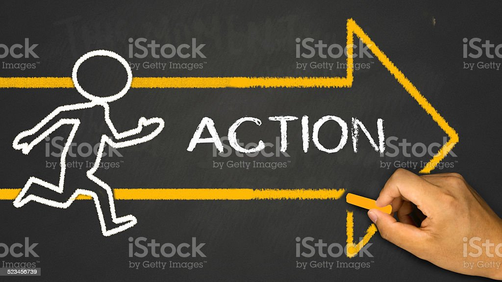 action concept stock photo