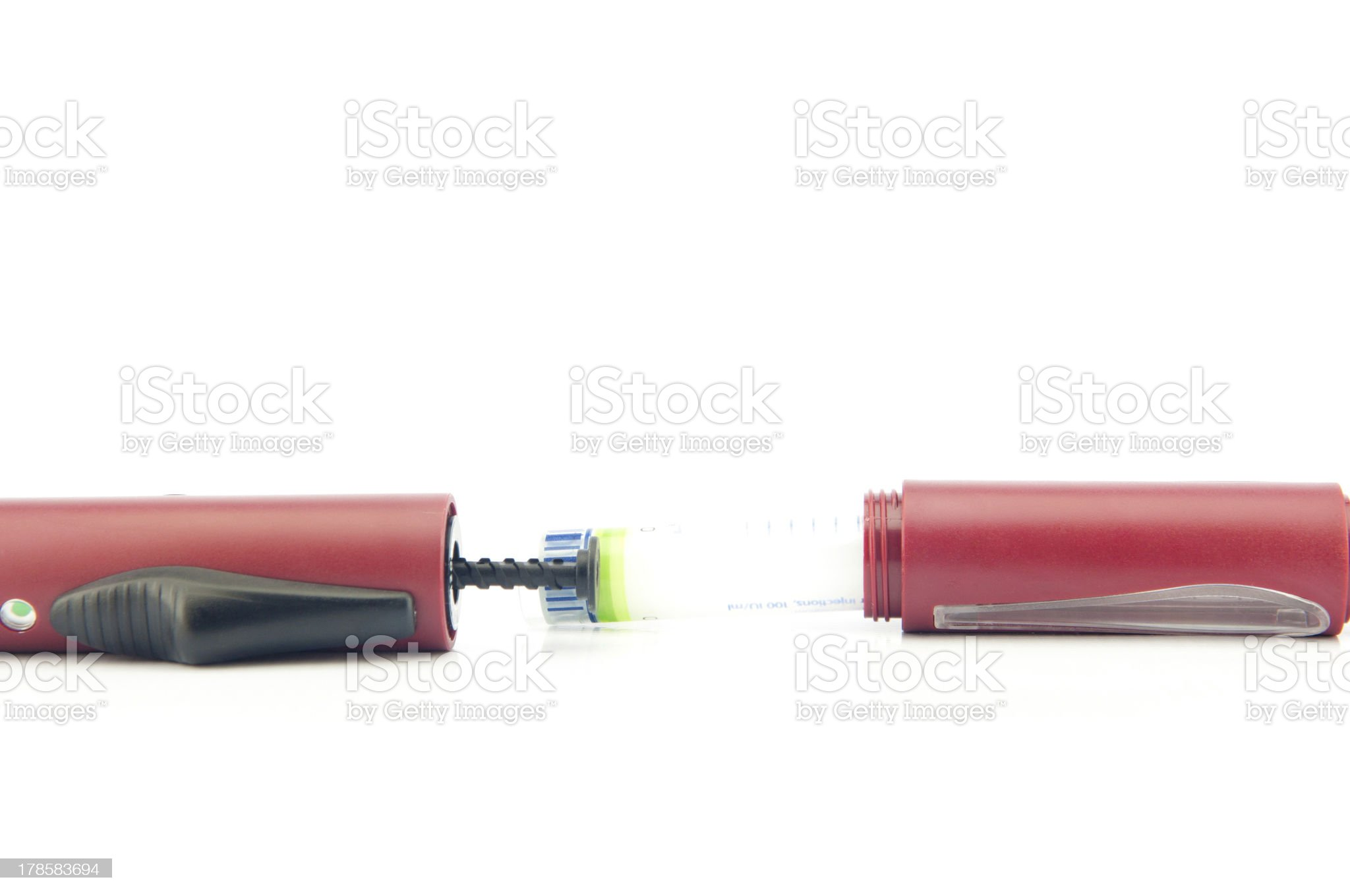 Action insulin tube insert to pen show content of equipmet royalty-free stock photo