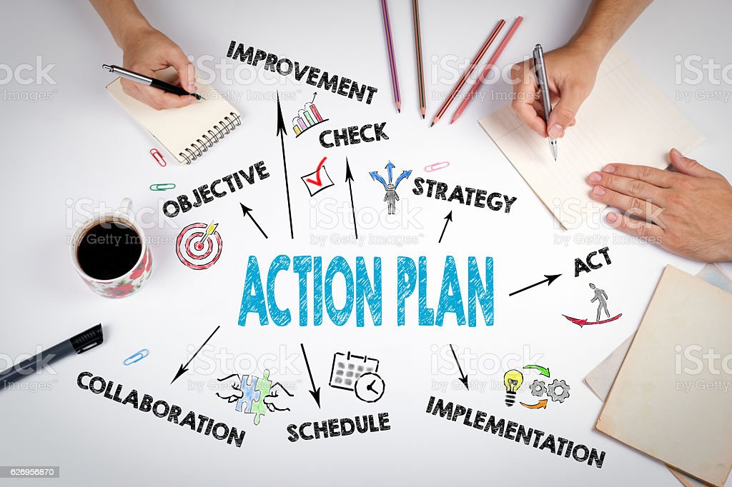 Action Plan Concept. The meeting at the white office table stock photo