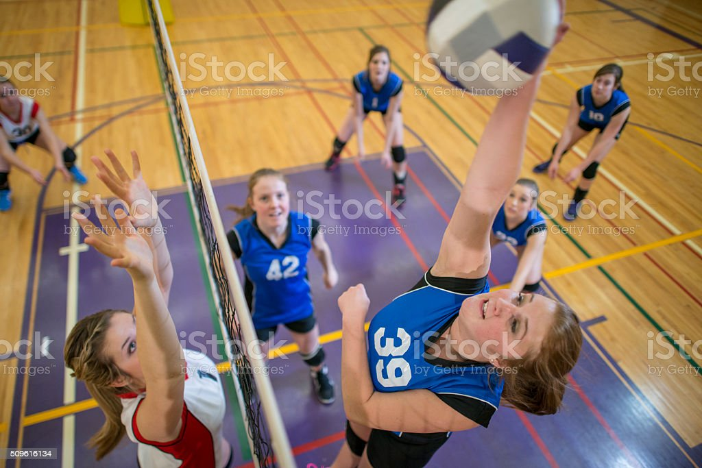 Action Shot of a Ball Being Spiked stock photo