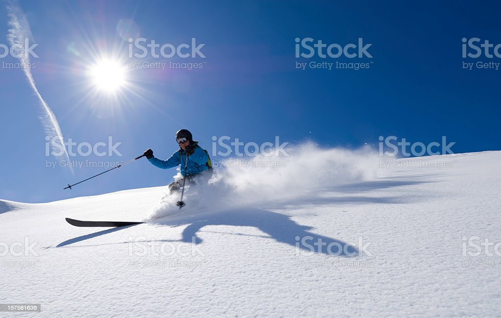 Action shot of an alpine skier royalty-free stock photo