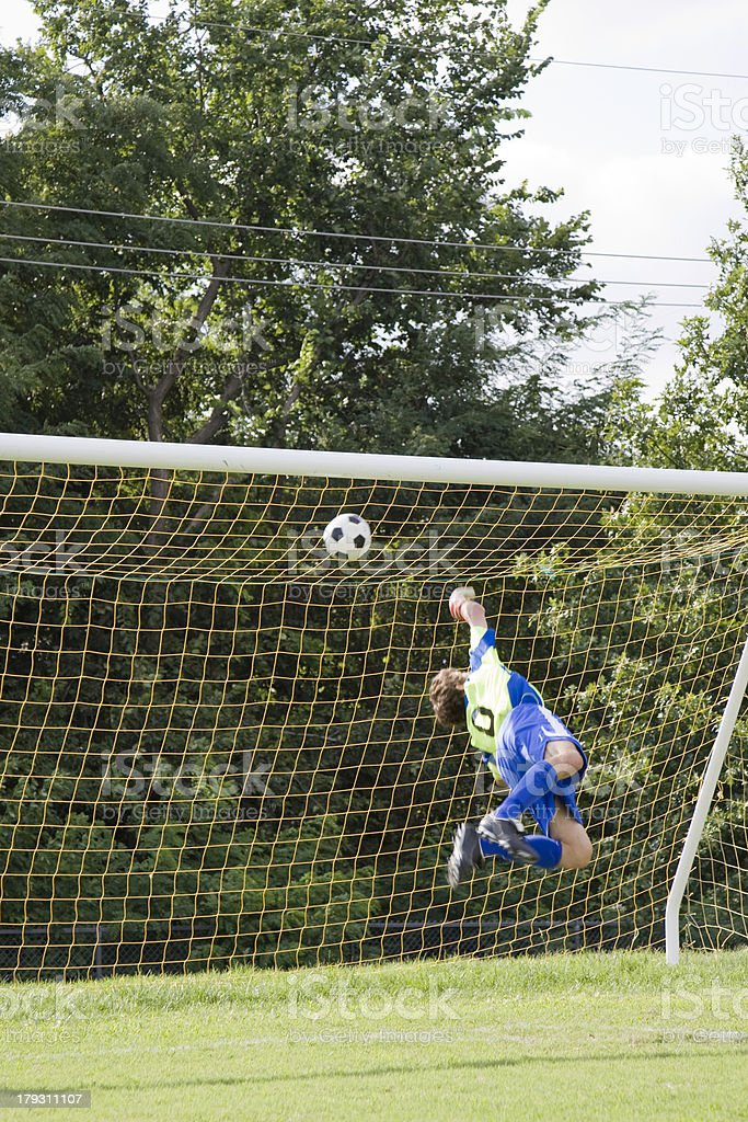 Action Shot of Soccer Goalie 3 royalty-free stock photo