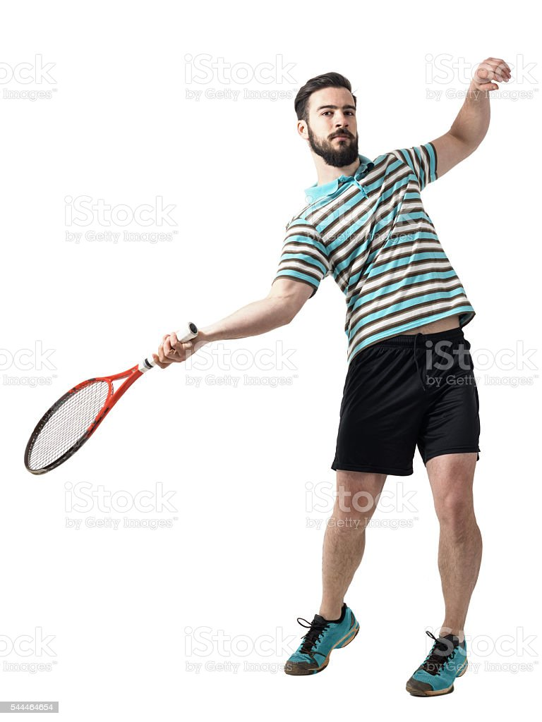 Action shot of tennis player hit ball in forehand pose. stock photo