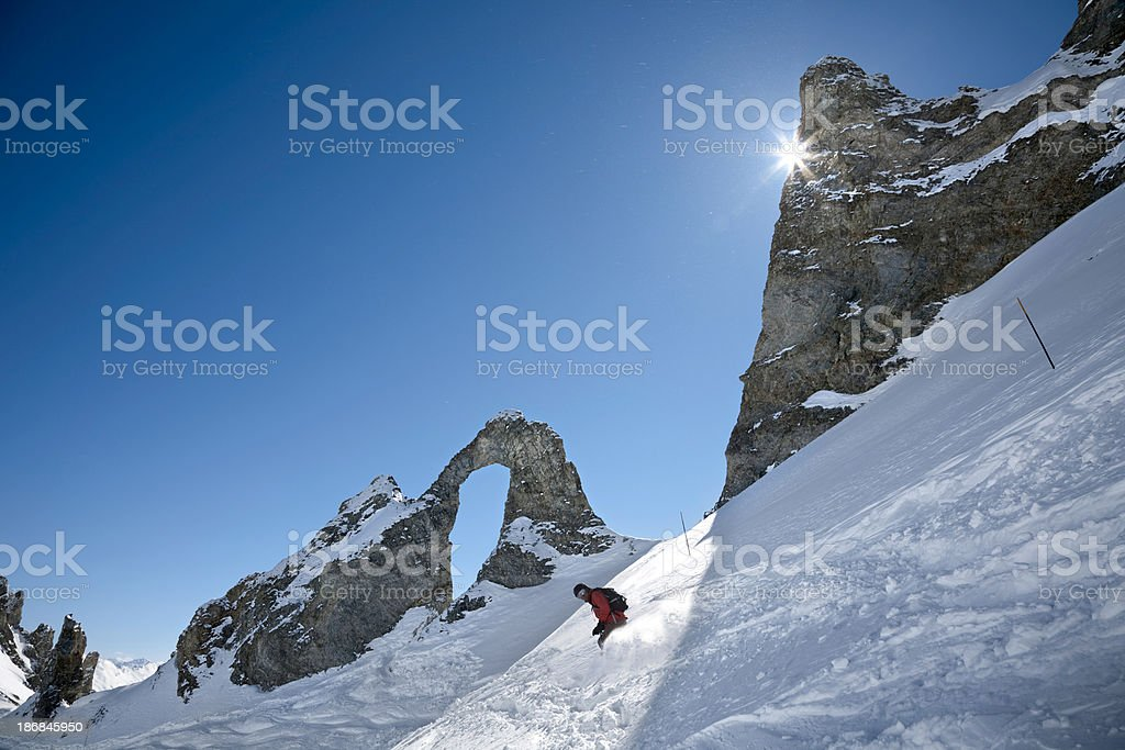 Action skier at the Aiguille Percee, Tignes stock photo