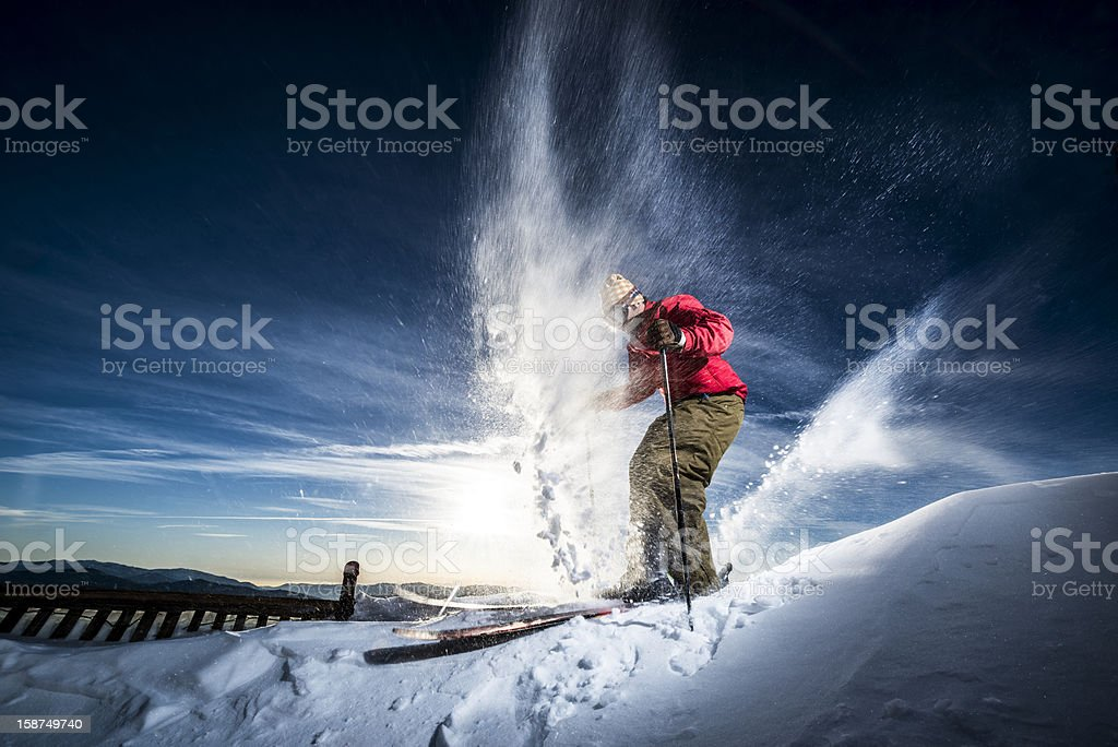 action skier stock photo