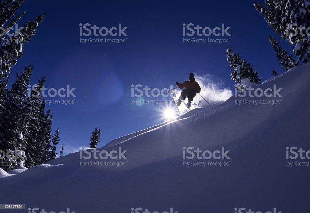 Action Skier Powder Skiing in the Colorado Rockies royalty-free stock photo
