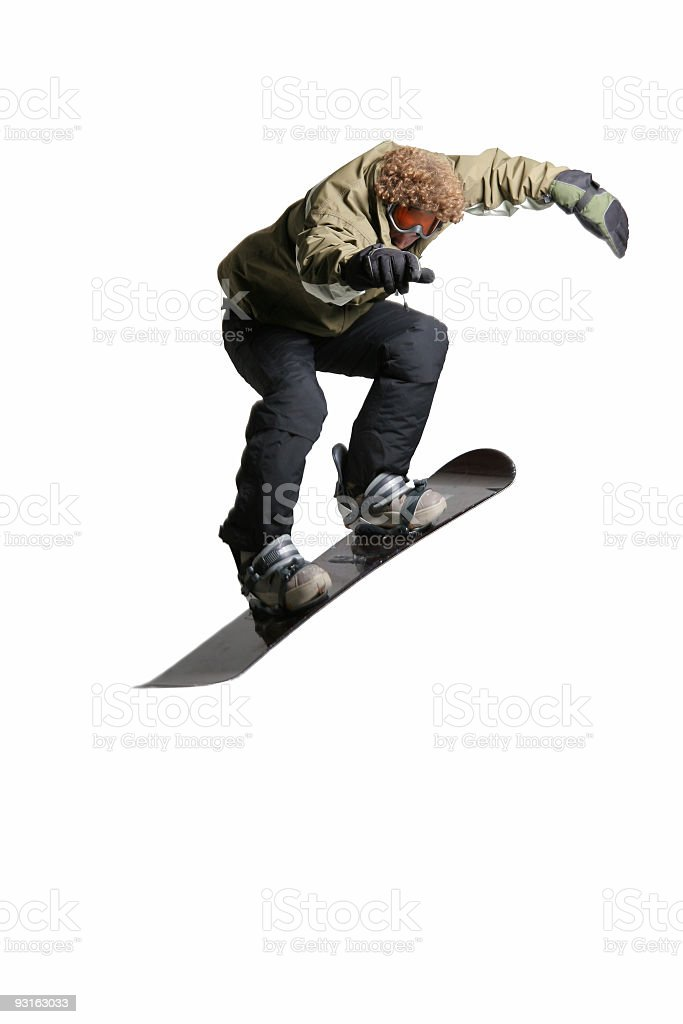 Action snowboarder isolated royalty-free stock photo