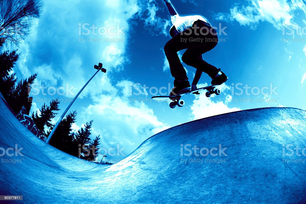 Action Sports - Cool Blue Concrete Wave royalty-free stock photo