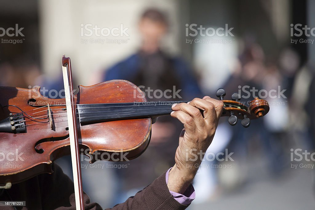 Action violinist, street musician stock photo
