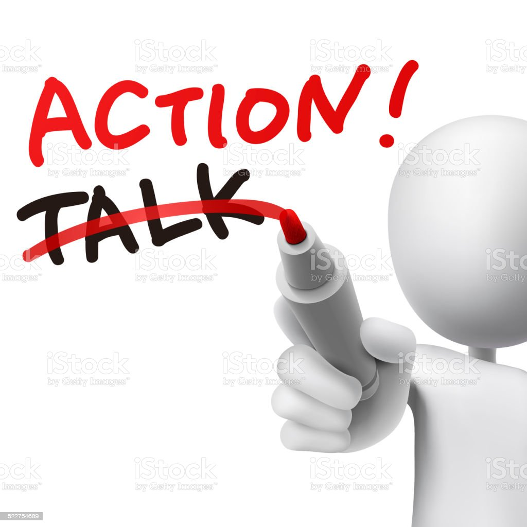 action word written with crossing out the word talk stock photo