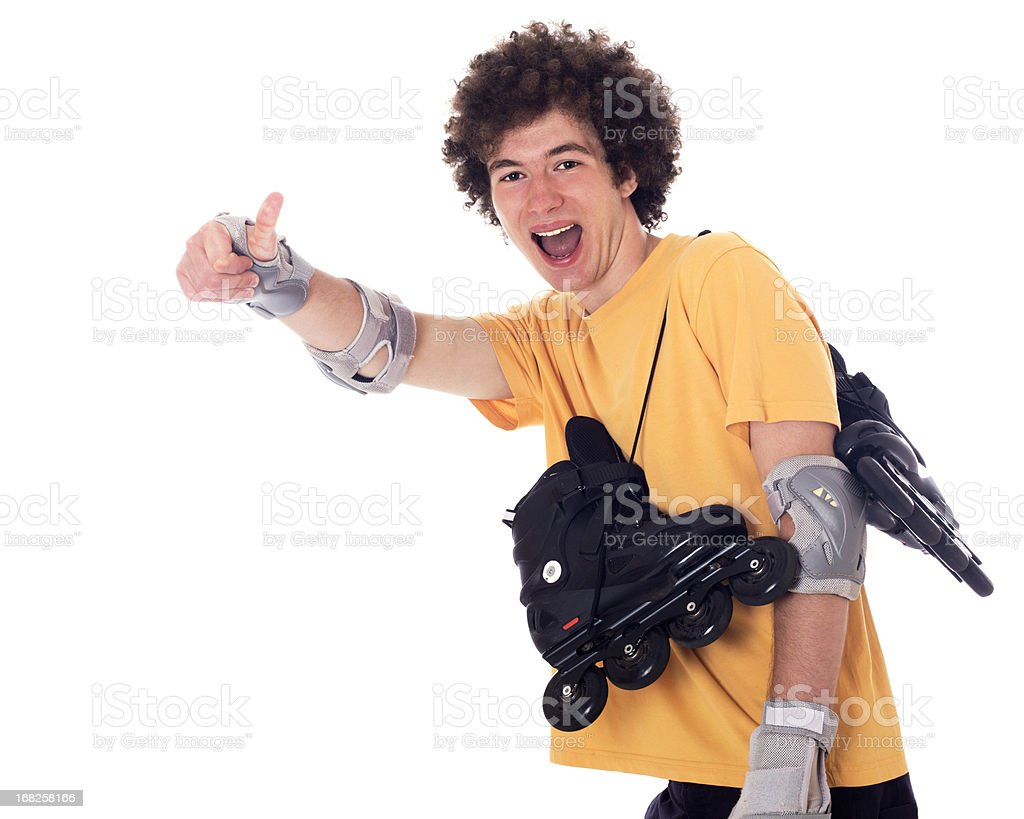Active boy with roller skates. stock photo