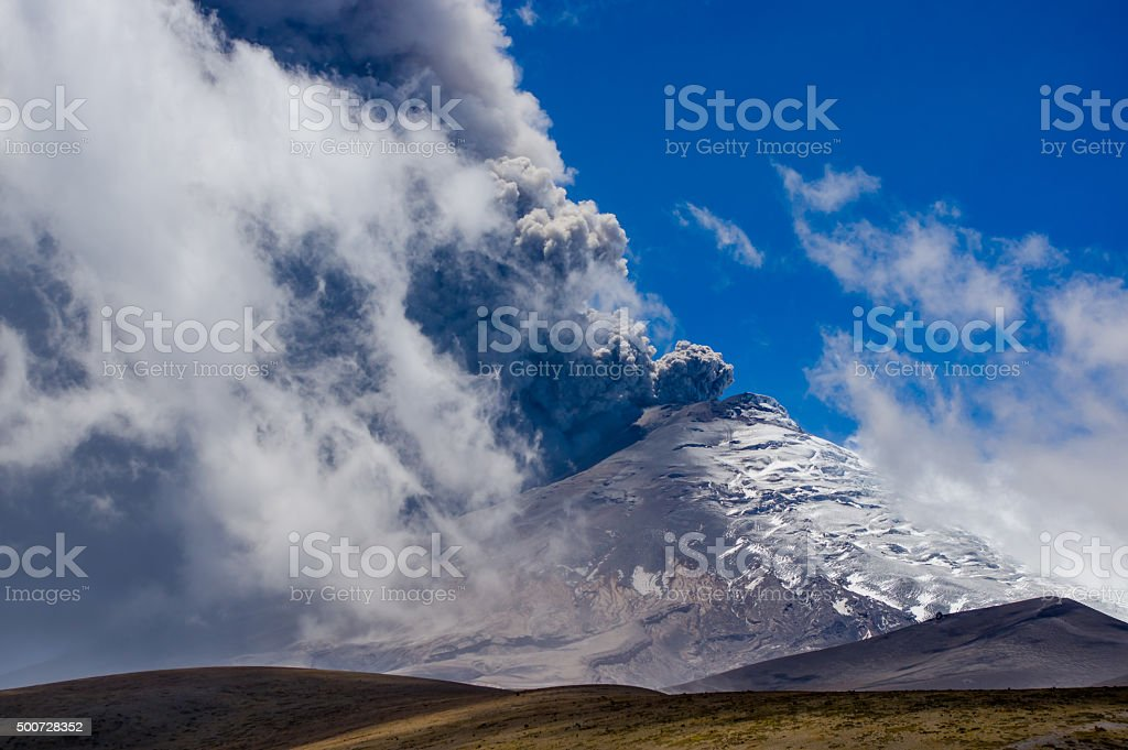 Active Cotopaxi volcano erupting stock photo