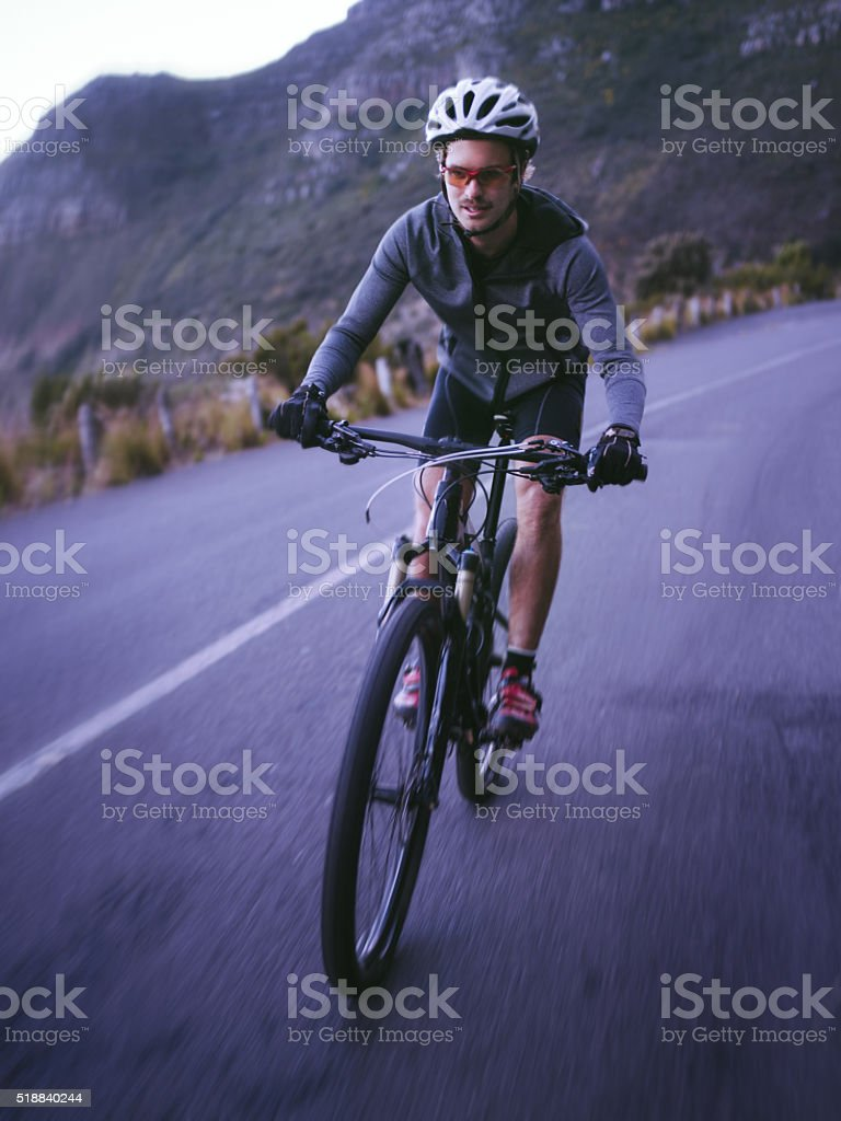 Active cyclist ready for the road wearing protective wear stock photo