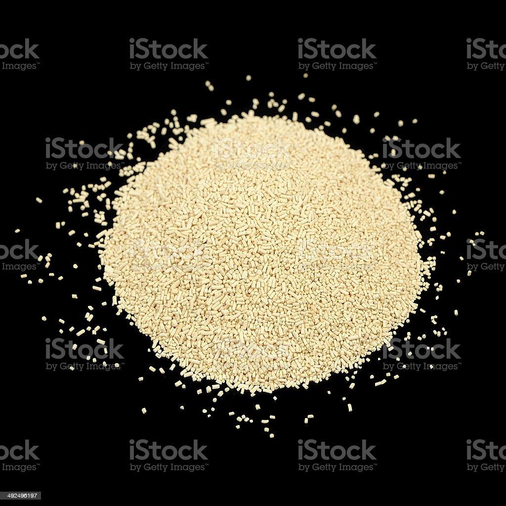 Active Dry Yeast on Black Background stock photo