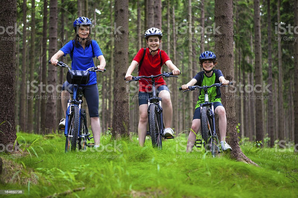 Active family biking royalty-free stock photo