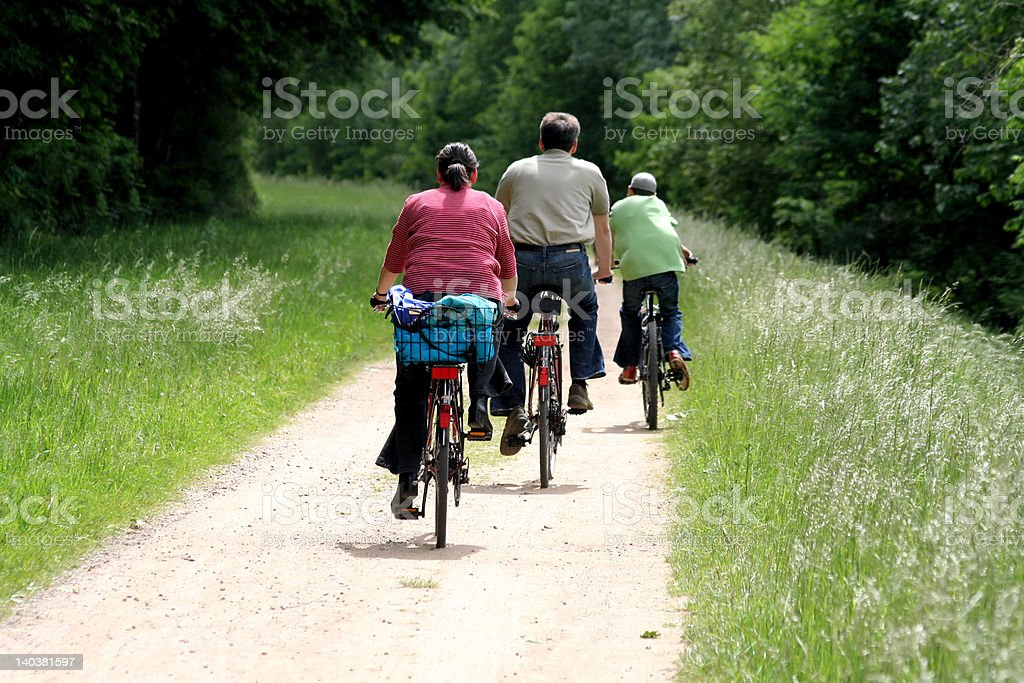 'Active family in bicycle' royalty-free stock photo