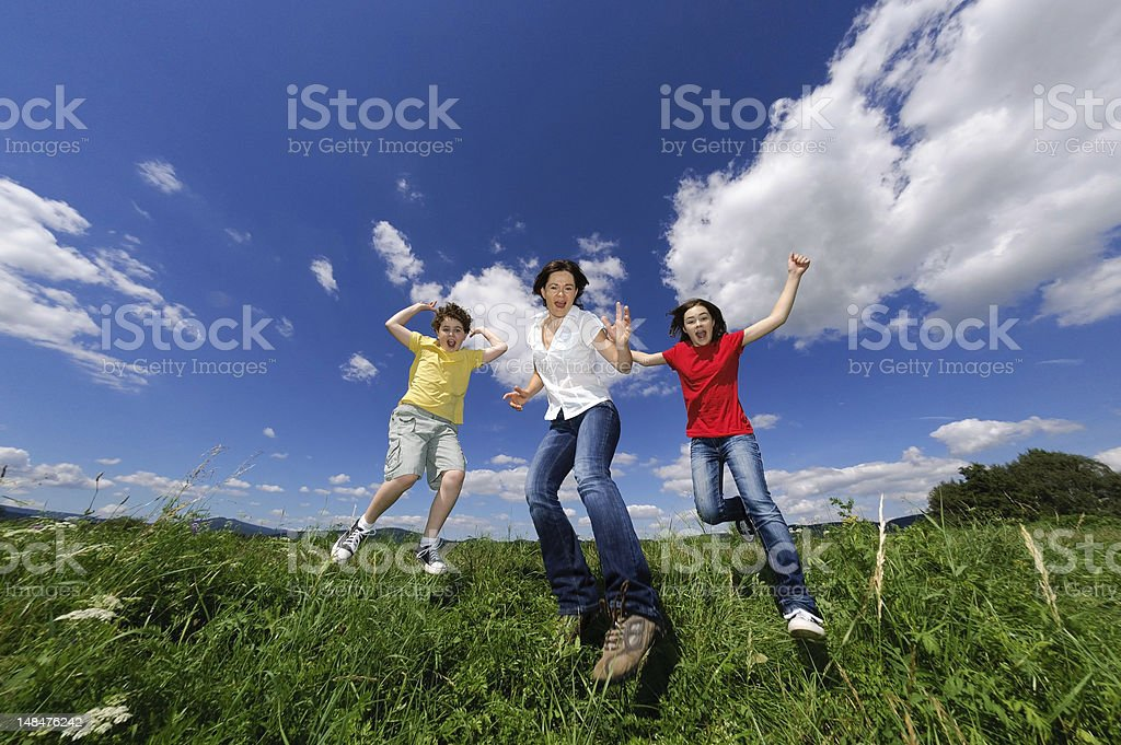 Active family running outdoor royalty-free stock photo
