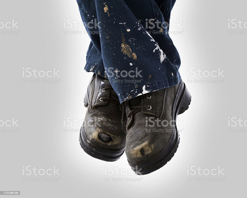 Active feet - Construction boots stock photo
