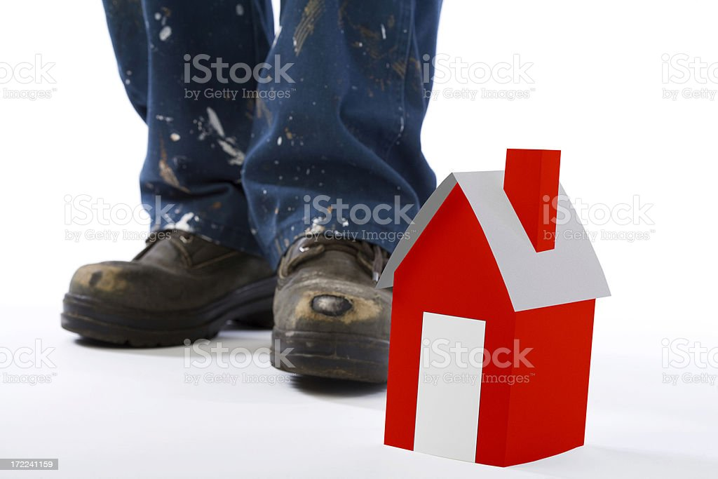 Active feet - Construction boots royalty-free stock photo