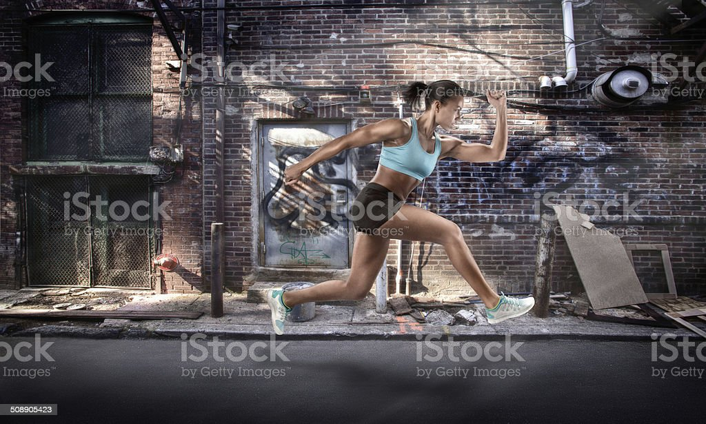 Active Female Jumping in Mid-Air royalty-free stock photo