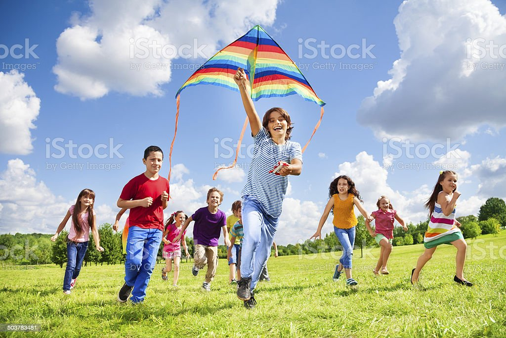 Active games for many kids stock photo