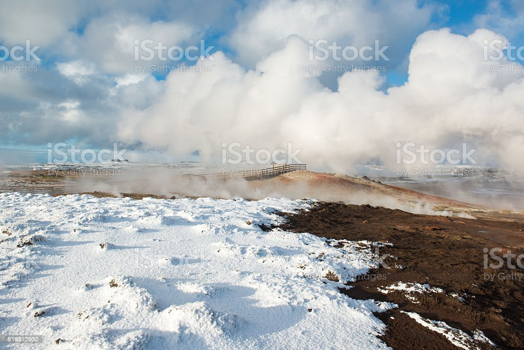 Active geothermal area Gunnuhver at winter, Reykjanes Peninsula, Iceland stock photo