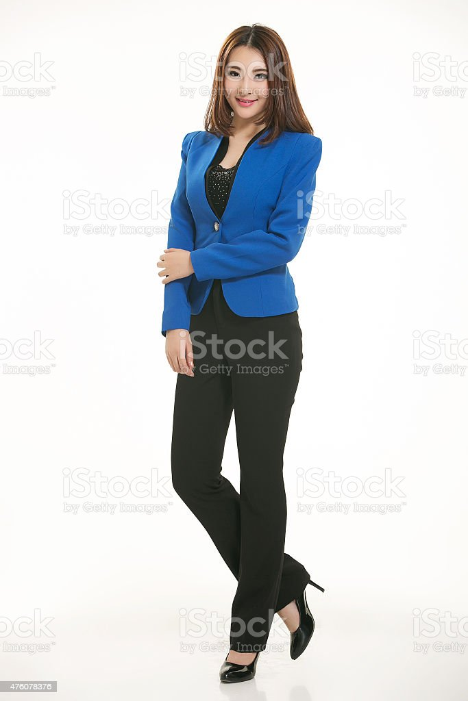 Active girl wear professional attire stock photo