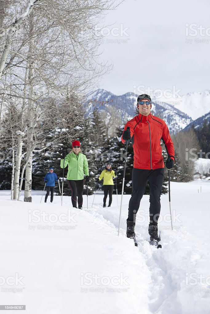 Active Group of Back Country Nordic Skiers stock photo