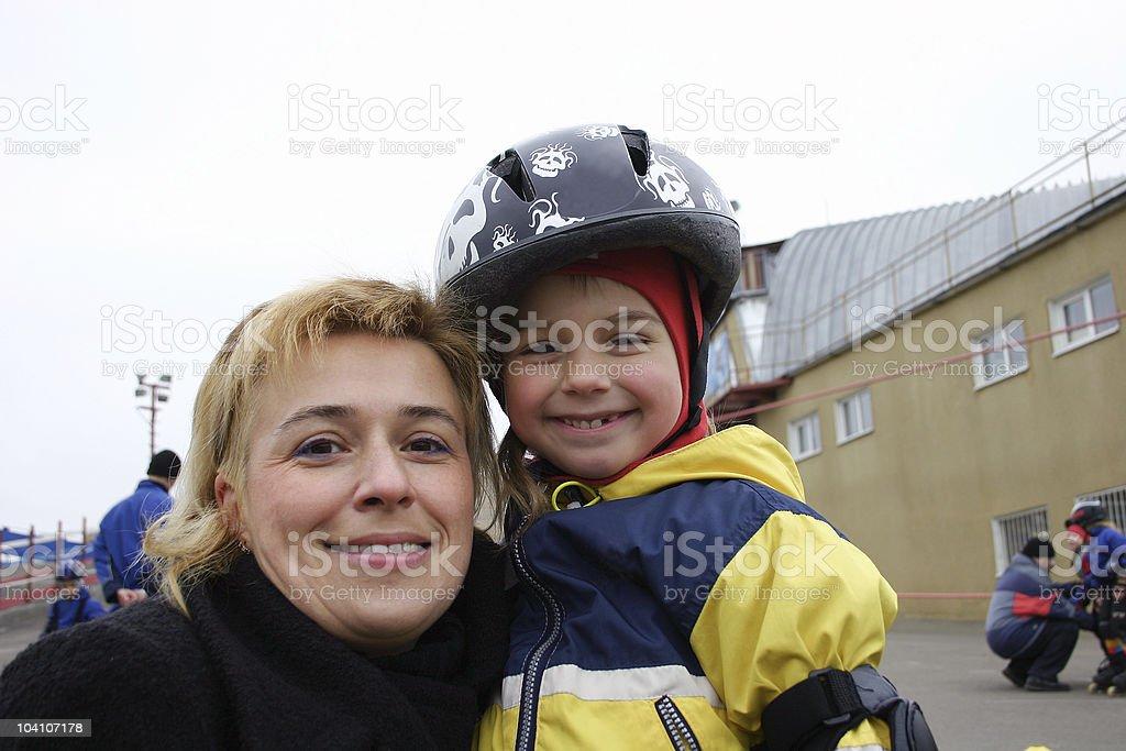Active happy family. stock photo