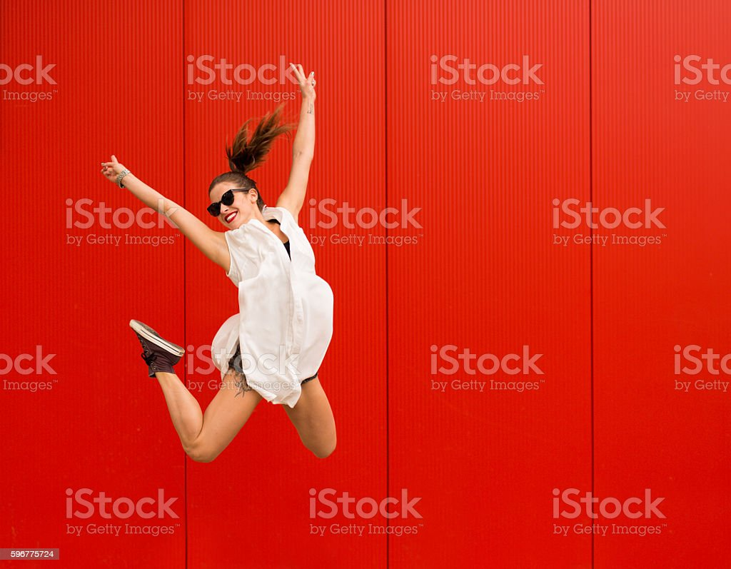 Active happy woman stock photo