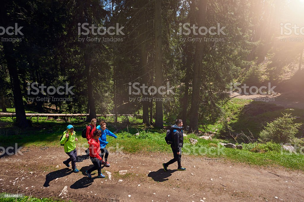active hiking friends stock photo
