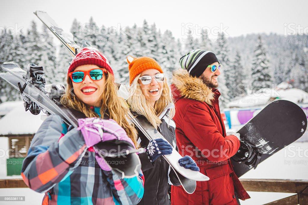Active holidays on mountain stock photo
